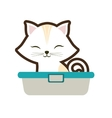 white small cat sitting stripes closed eyes vector image vector image