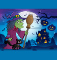 witch with cat and broom theme image 8 vector image vector image