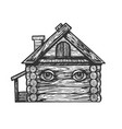 wooden house with eyes engraving vector image vector image