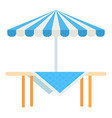 wooden picnic table with umbrella icon flat vector image vector image