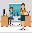 young couple in the workplace office vector image vector image