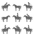 Racing horses and jockeys silhouettes vector image