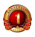 1 anniversary golden label with ribbon vector image vector image