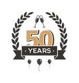 50 th anniversary retro emblem fifty years vector image vector image