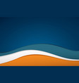 abstract blue white and orange color wavy shape vector image