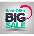 best offer big sale with red arrow vector image vector image