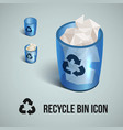 blue transparent realistic recycle bin icons vector image vector image