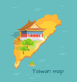 cartoon taiwan map with traditional asian building vector image vector image