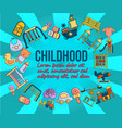 childhood concept banner cartoon style vector image vector image