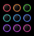 color buttons set neon circle with light effect vector image