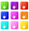computer mouse icons 9 set vector image vector image