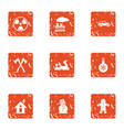 contaminated forest icons set grunge style vector image vector image