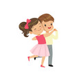 cute little boy and girl dancing vector image vector image