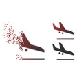 decomposed pixel halftone aiplane landing icon vector image vector image