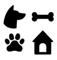 dog icons set dog head paw bone dog house vector image vector image