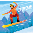 Downhill from the mountain on a snowboard vector image