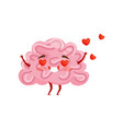 enamored humanized brain with happy face red vector image