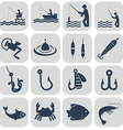 Fishing icons in single color vector image