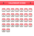 Flat design calendar icon set collection vector image vector image
