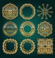 Gold mandala set Turquoise version vector image