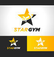gold star gym fitness logo icon vector image vector image