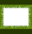 green grass border frame isolated on white vector image vector image