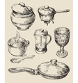 hand drawn kitchen set vector image vector image