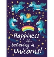 Happy card with cute unicorns cartoon vector image