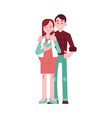 happy pregnant woman with belly man couple vector image vector image