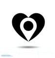 heart black icon love symbol location in vector image