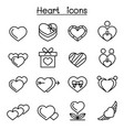 heart icon set in thin line style vector image vector image