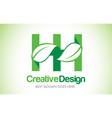 hh green leaf letter design logo eco bio leaf vector image vector image