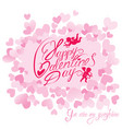 holiday card with cute angels on hearts pink vector image vector image