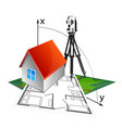 house project and geodesy vector image