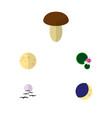 icon flat natural set of mushroom moon water vector image vector image