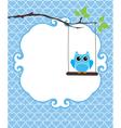 invitation card owl blue vector image vector image