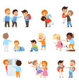 kids bullying the weaks set boys and girls vector image vector image