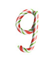 letter g 3d realistic candy cane alphabet vector image vector image