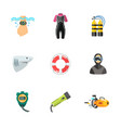 nine diving icons vector image vector image