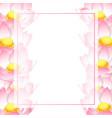 pink indian lotus banner card border vector image vector image