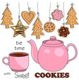 pink teapot and cup tea with different kinds of vector image vector image