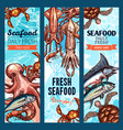 seafood and fish market banner set with sea animal