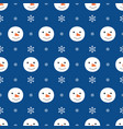 seamless pattern with snowman heads and snowflakes vector image vector image