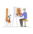 senior man painting - flat design style vector image