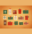 set christmas gift boxes in vintage style vector image vector image