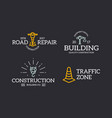 set of retro vintage construction traffic cone vector image vector image
