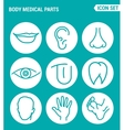set of round icons white Body medical parts lips vector image vector image