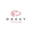 simple dog head line art logo design vector image vector image