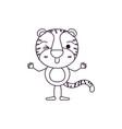 sketch contour caricature of cute tiger wink eye vector image vector image
