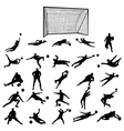 Soccer goalkeeper silhouette set vector image vector image